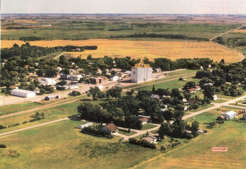 Aerial view of Cartwright, Manitoba