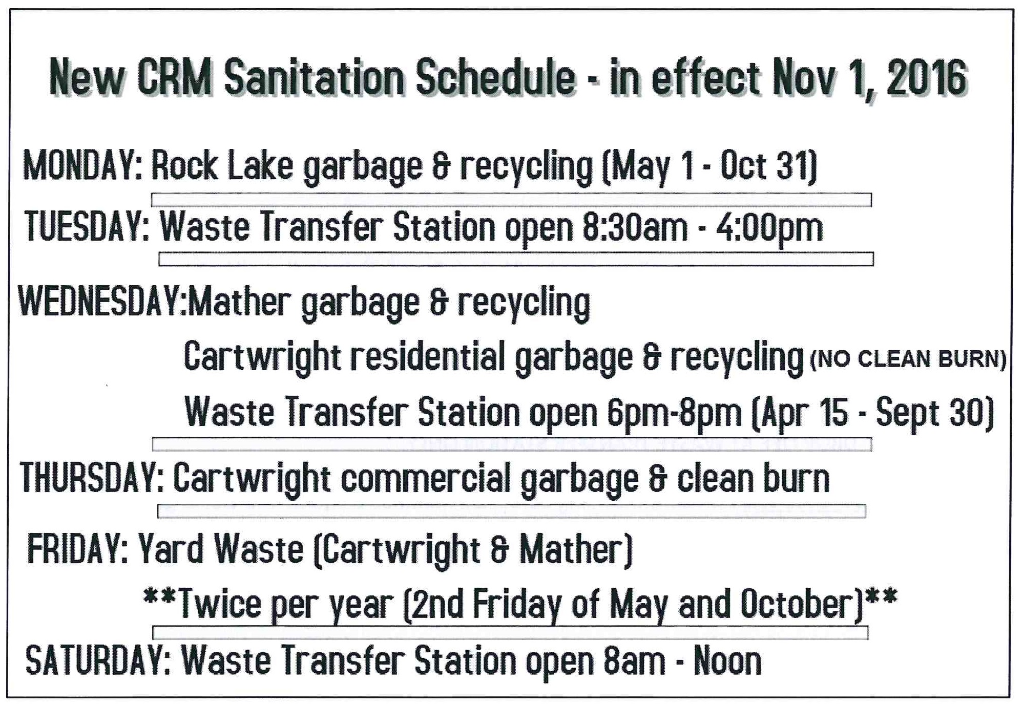 CRM Sanitation Schedule
